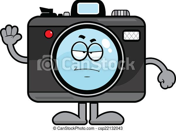 Cartoon camera grumpy. Cartoon illustration of a camera with ...