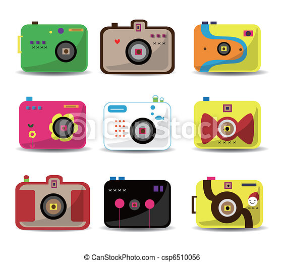 Cartoon Camera Icon Set