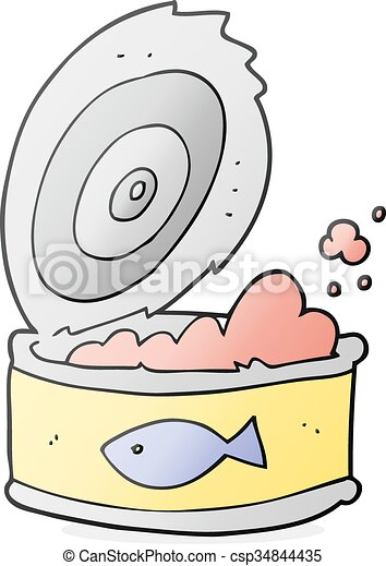 cartoon can of tuna - csp34844435