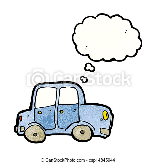 cartoon car with thought bubble - csp14845944