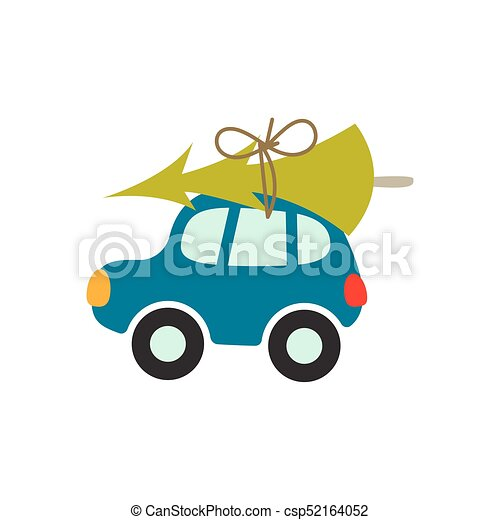 Cartoon car with xmas tree on the roof vector illustration. - csp52164052