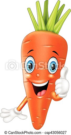 vector illustration of cartoon carrot giving thumbs up