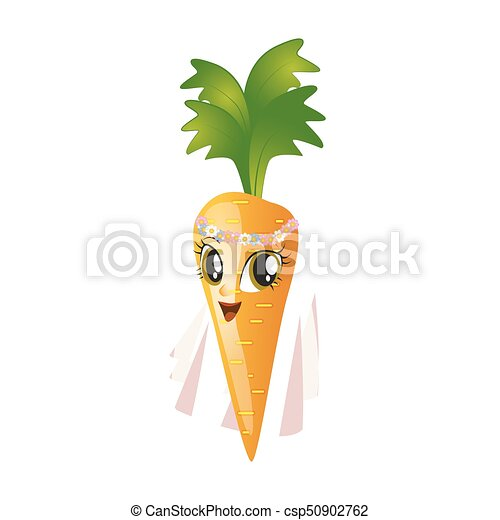 Cartoon carrot giving thumbs up on a white background - csp50902762