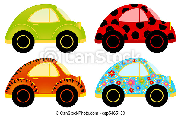 Set Of Cartoon Cars On A White Background