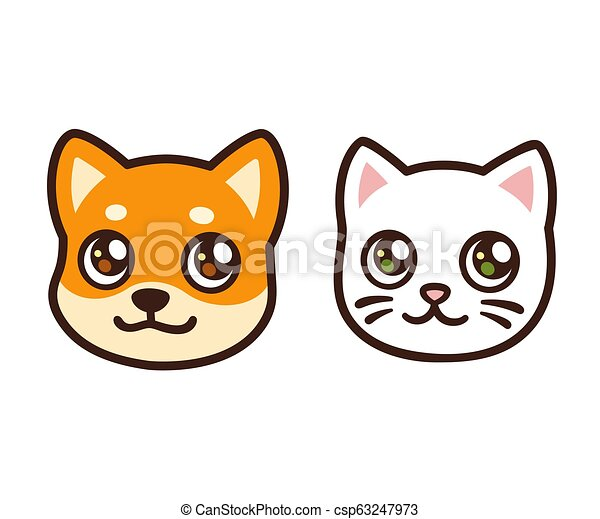 Cartoon Cat And Dog Face Cute Cartoon Cat And Dog Face Anime Style Puppy And Kitten Isolated Vector Pets Avatar