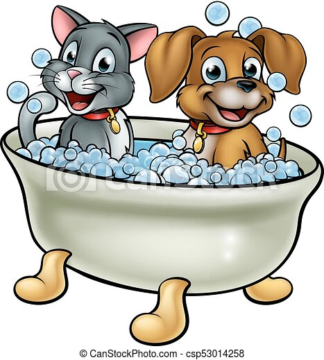 cartoon cat and dog in bath cartoon dog and cat washing in rh canstockphoto com bath clipart free bath clipart free