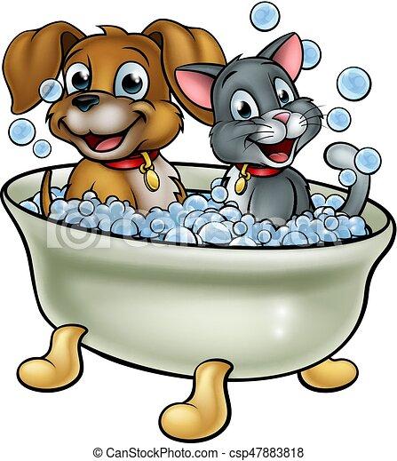 Cartoon Cat and Dog Washing in Bath - csp47883818