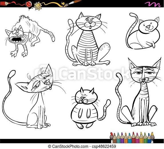 black and white cat characters cartoon cat characters coloring book