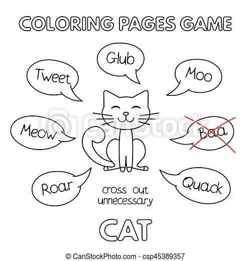 Cartoon Cat Coloring Book - csp45389357