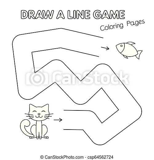 - Cartoon Cat Coloring Book Game For Kids. Cartoon Cat Game For Small  Children - Draw A Line. Vector Coloring Book Pages For CanStock