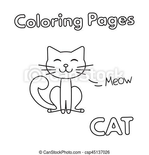 Cartoon Cat Coloring Book - csp45137026