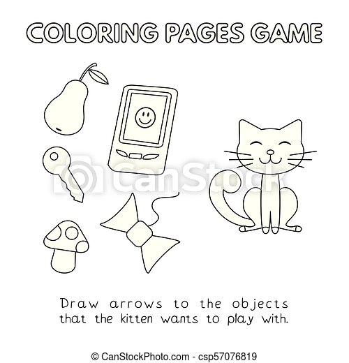 Cartoon Cat Coloring Book - csp57076819