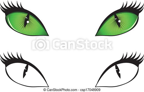 Cartoon Cat Eyes Green Black And White Cartoon Cat Eyes Illustration