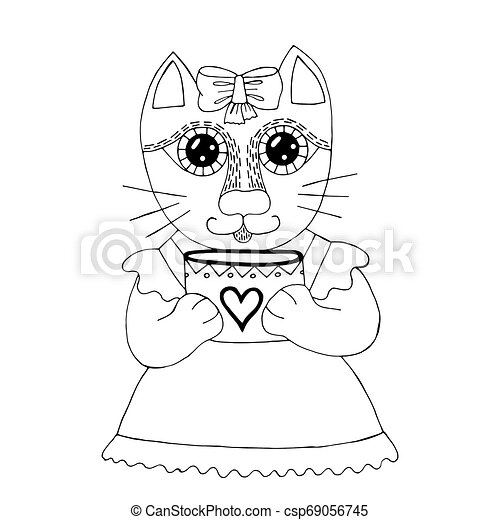 Cartoon cat for coloring book or pages - csp69056745