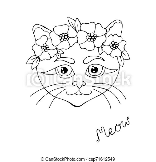 Cartoon cat for coloring book or pages - csp71612549