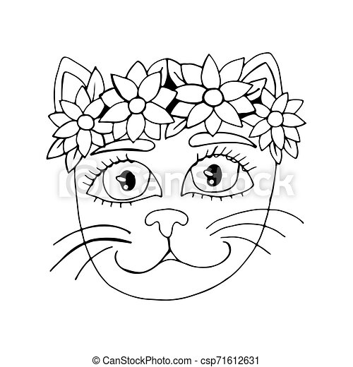 Cartoon cat for coloring book or pages - csp71612631