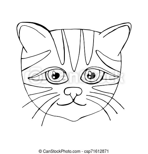 Cartoon cat for coloring book or pages - csp71612871