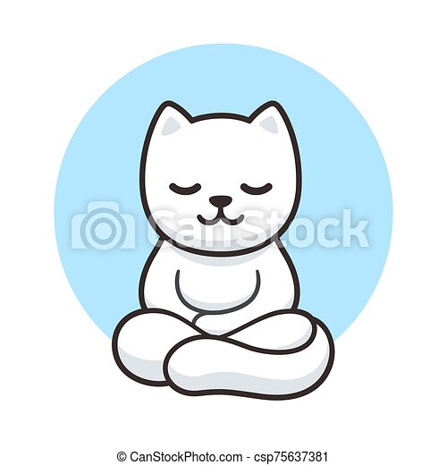 Cartoon Cat Meditating Zen Cat Meditation Simple Cartoon Drawing Cute White Cat Meditating In Lotus Position Vector Clip