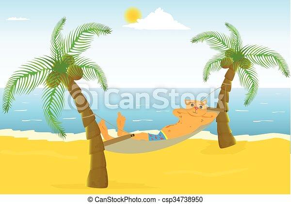 Cartoon cat on a beautiful beach - csp34738950