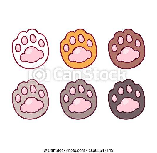 Cartoon Cat Paw Prints Set Cartoon Cat Paw Prints Icon Set Cute And Simple Pet Foot Symbol Vector Clip Art Illustration
