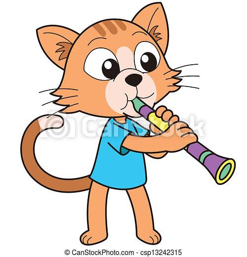 cartoon cat playing a clarinet cartoon giraffe playing a clarinet rh canstockphoto com