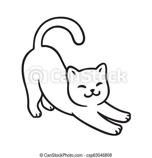 Cartoon Cat Stretching Cute Simple White Cat Drawing Vector Line Art Illustration