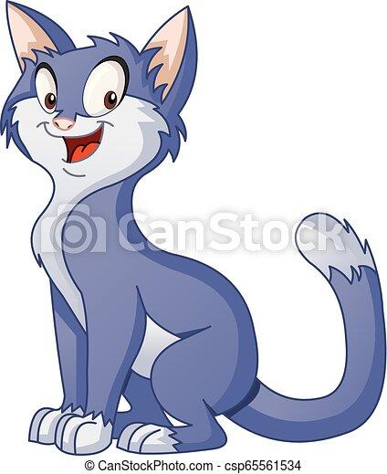 Cartoon cat. Vector illustration of funny happy animal. - csp65561534
