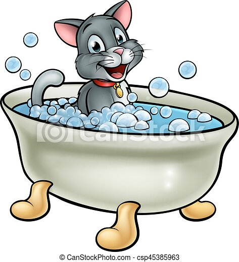 a cartoon cat washing in the bath with bubbles clip art vector rh canstockphoto com tub clipart black and white hot tub clipart