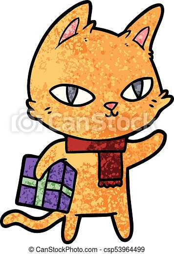cartoon cat with gift - csp53964499