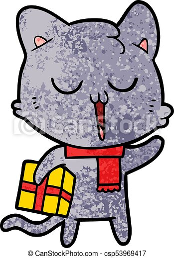 cartoon cat with gift - csp53969417