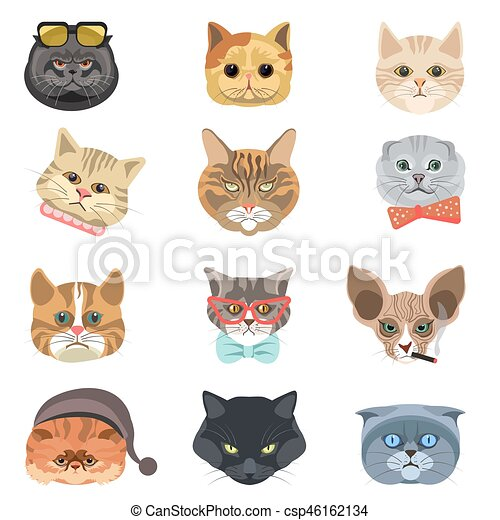 Cartoon Cats And Hipster Kittens Face Muzzles Vector Icons Funny