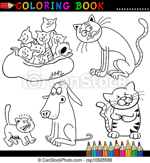 Cartoon Cats for Coloring Book or Page - csp10928586