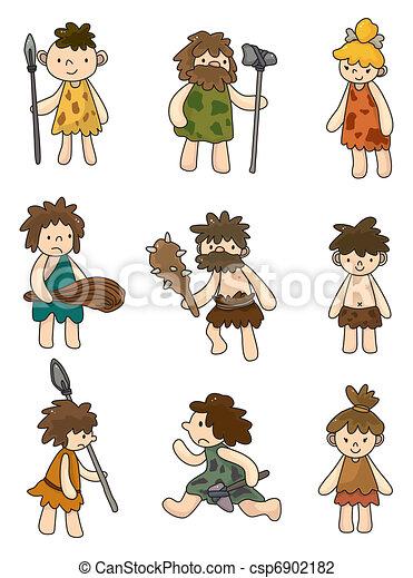 cartoon Caveman icon set,vector  - csp6902182