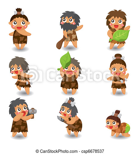 cartoon Caveman icon set,vector - csp6678537