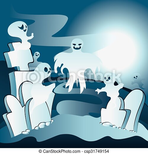 Cartoon Cemetery with Ghosts - csp31749154