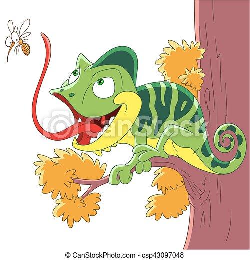 cartoon chameleon and mosquito - csp43097048