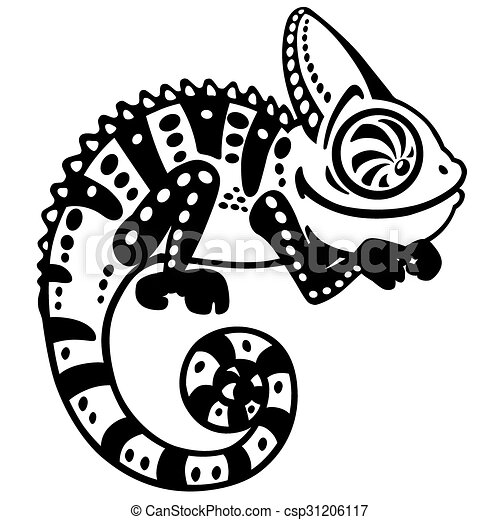 Cartoon Chameleon Black And White Cartoon Chameleon