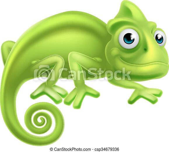 Cartoon Chameleon - csp34679336