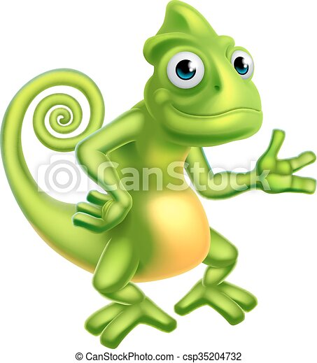 Cartoon Chameleon - csp35204732