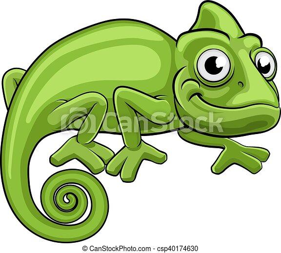 Cartoon Chameleon - csp40174630
