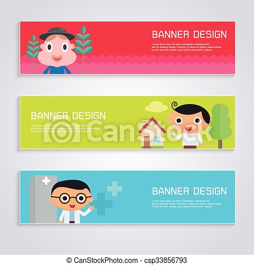 Cartoon character banner design set - csp33856793