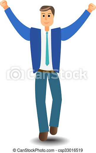 Cartoon character Business Man Excited Hold Hands Up Raised Arms - csp33016519