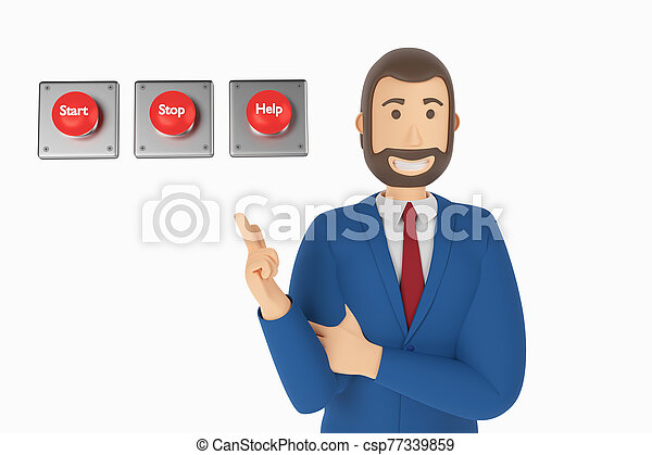 Cartoon character, businessman in suit with pointing finger at button start, stop, help. 3d rendering - csp77339859