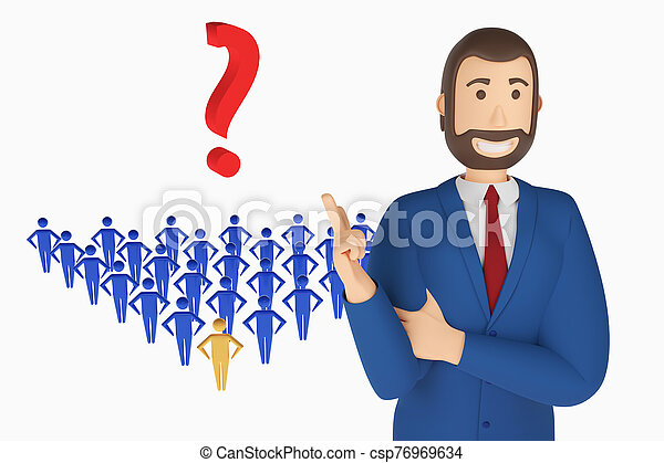 Cartoon character, businessman in suit with pointing finger at an question mark. 3d rendering - csp76969634
