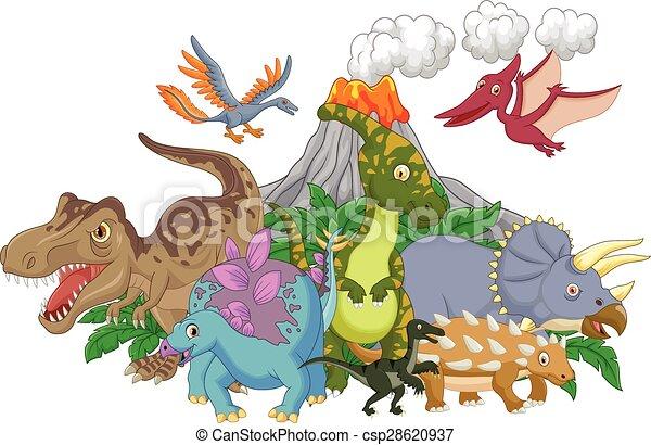 Cartoon character dinosaur - csp28620937