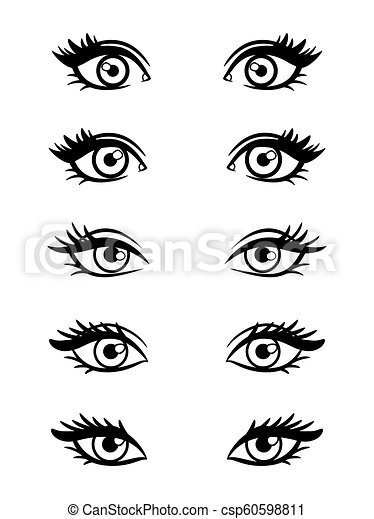 Cartoon Character Female Eyes Isolated On White Background Vector