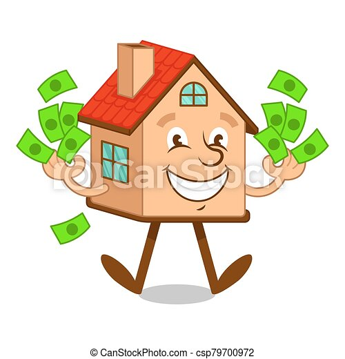 Cartoon character house with money - csp79700972