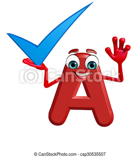 Cartoon Character of alphabet A with right sign - csp30535507