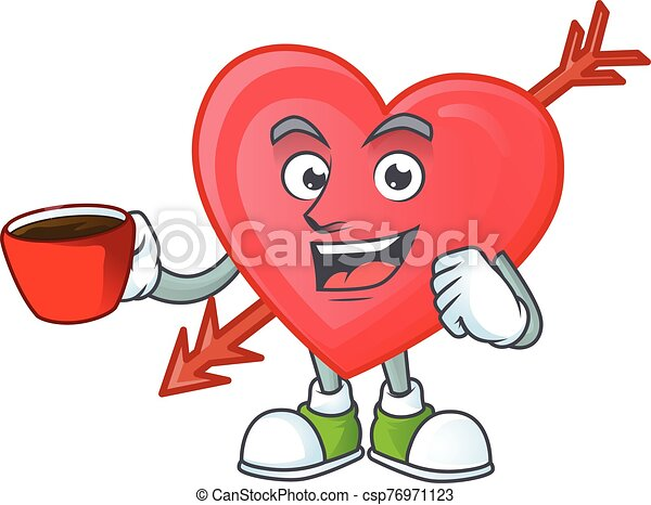 cartoon character of arrow love with a cup of coffee - csp76971123