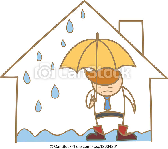 cartoon character of man in the leak roof house - csp12634261